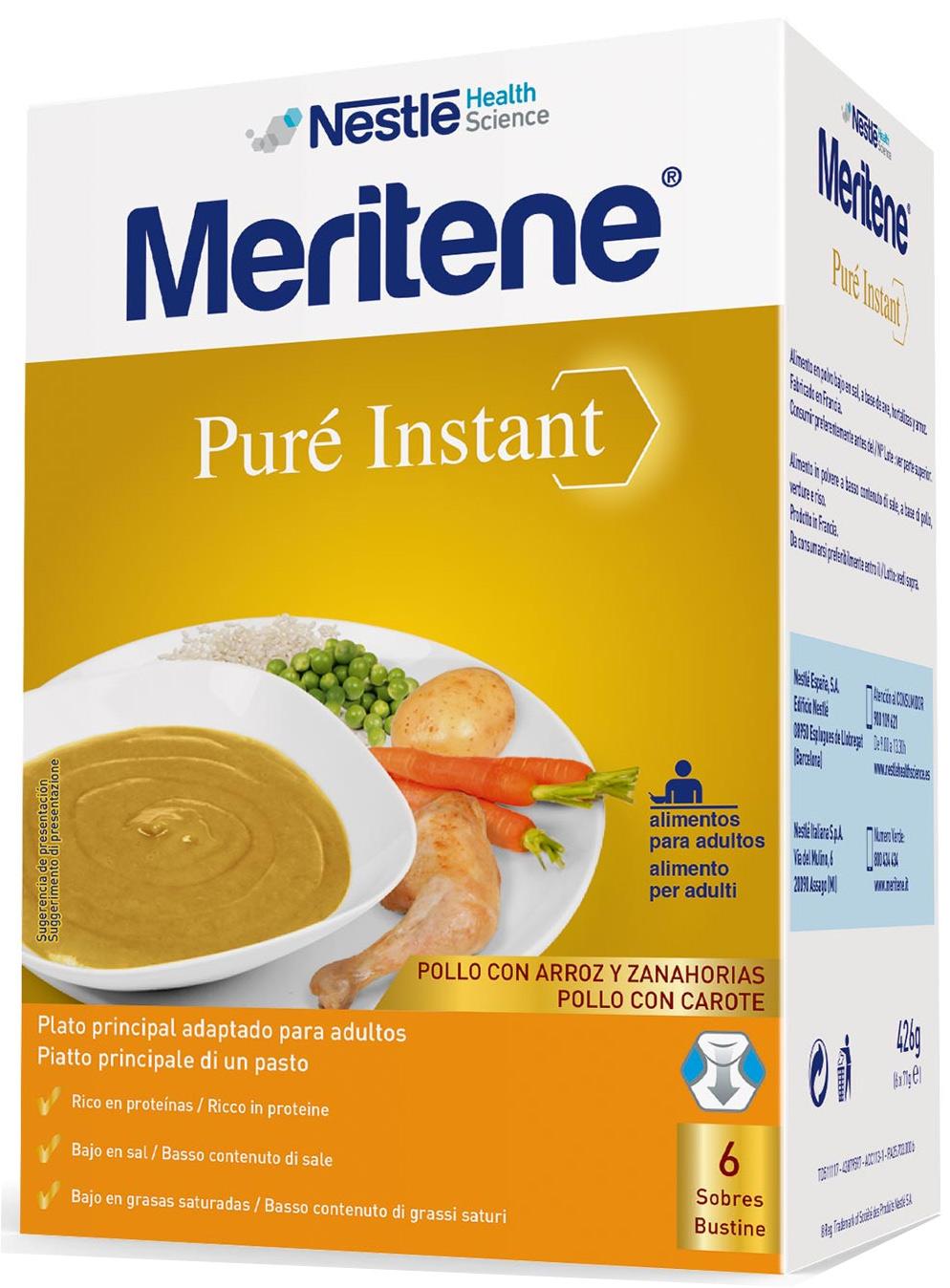 MERITENE PURE' INSTANT POLLO CON CAROTE 6 X 71 G - Farmacia Centrale Dr. Monteleone Adriano