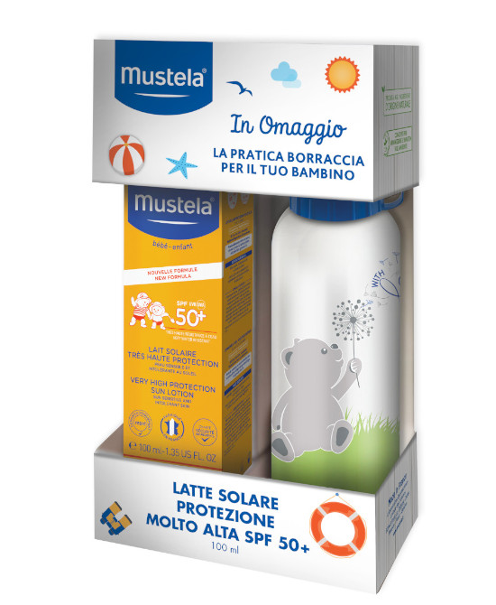Kit Mustela Latte Solare SPF 50+ 100 ml con Borraccia - Farmaci.me