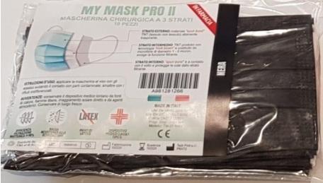 MYMASK PRO TIPO II MASCHERINA CHIRUGICA NERO 10 PEZZI - farmaciadeglispeziali.it