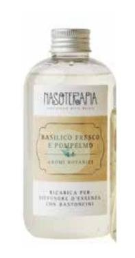 NASOTERAPIA BASILICO FRESCO E POMPELMO RICARICA PER DIFFUSORE CON BASTONCINI 250 ML - farmaciadeglispeziali.it