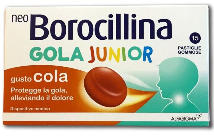 NEOBOROCILLINA GOLA JUNIOR 15 PASTIGLIE COLA - Farmacia Centrale Dr. Monteleone Adriano