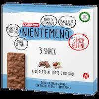 Nientemeno Barretta Cioccolato al Latte e Nocciole senza Glutine 3 Pezzi - Arcafarma.it