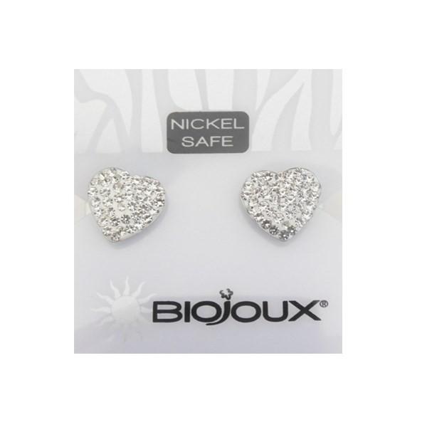 Orecchini Biojoux 921 White Pavè Crystal Heart 10mm - Arcafarma.it