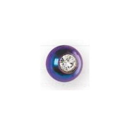 Orecchini Inverness Pallina Cristallo Anodizzato Blu Titanio 4mm R530C
