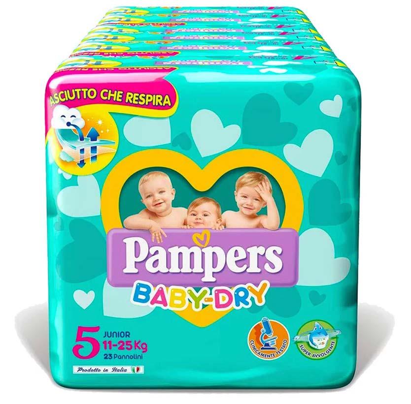PAMPERS BABY DRY JUNIOR (taglia 5) 136 PEZZI MEGASCORTA - Farmacia della salute 360