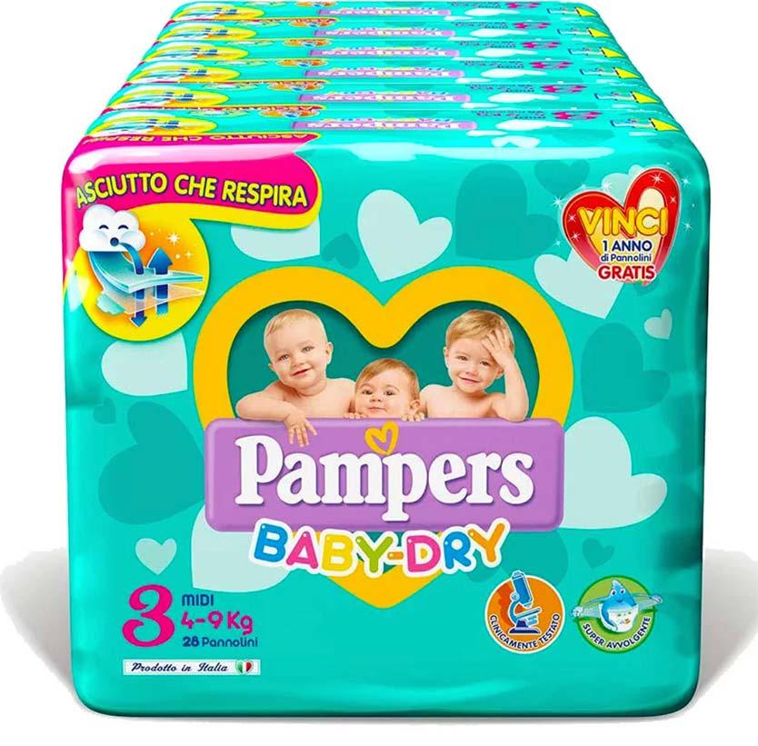PAMPERS BABY DRY MIDI (taglia 3) 120 PEZZI MEGASCORTA - Farmacia della salute 360