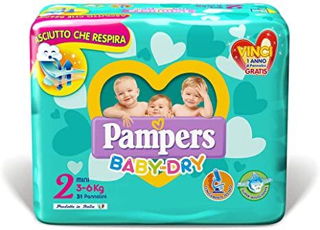 PAMPERS BABY DRY MINI (taglia 2) 144 PEZZI MEGASCORTA - Farmacia della salute 360