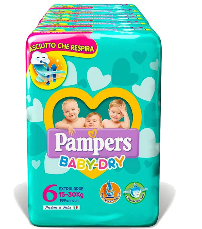 PAMPERS BABY DRY XL (taglia 6)  84 PEZZI MEGASCORTA - Farmacia della salute 360