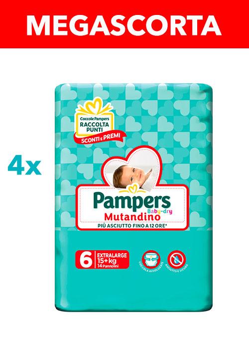 PAMPERS MUTANDINO BABY DRY XL (taglia 6) 56 pezzi MEGASCORTA - Farmacia della salute 360