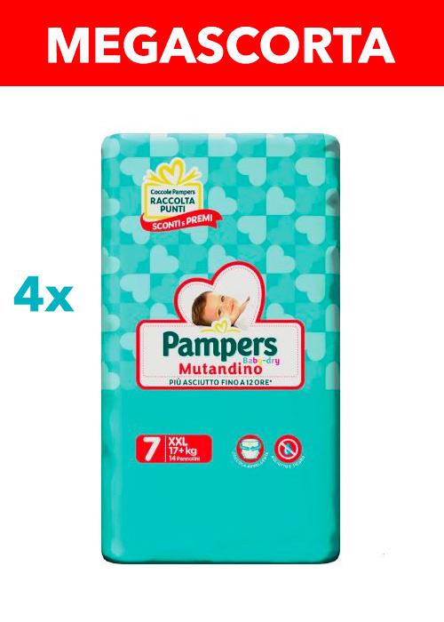 PAMPERS MUTANDINO BABY DRY XXL (taglia 7) 56 pezzi MEGASCORTA - Farmacia della salute 360