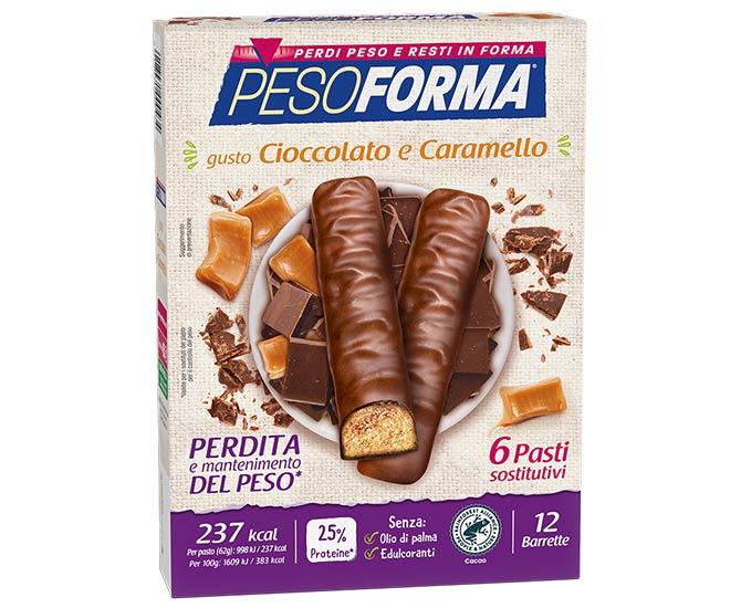 Pesoforma Cioccolato e Caramello 6 Pasti Sostitutivi 12 Barrette - Farmacielo