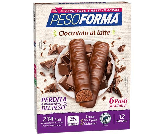 Pesoforma Cioccolato al Latte 6 Pasti Sostitutivi 12 Barrette - Farmacielo
