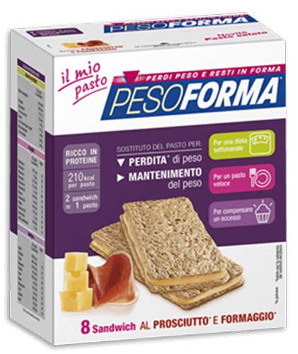 PESOFORMA SANDWICH PROSCIUTTO/FORMAGGIO 4 PASTI 8 PEZZI X 25 G - Farmacia Centrale Dr. Monteleone Adriano