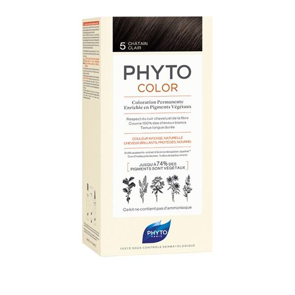 PHYTO PHYTOCOLOR 5 CASTANO CHIARO 1 LATTE + 1 CREMA + 1 MASCHERA + 1 PAIO DI GUANTI - Farmastar.it