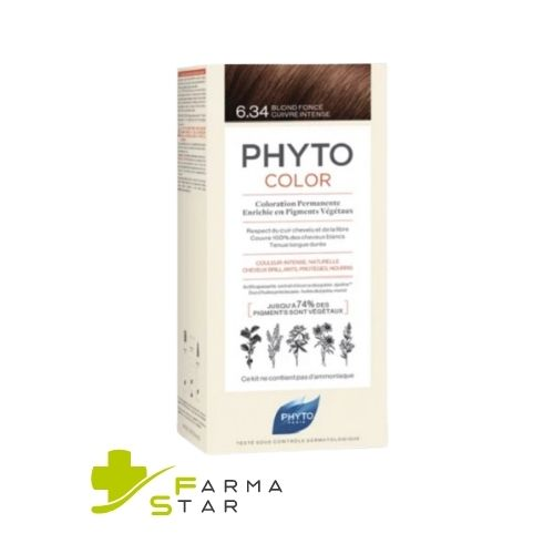 PHYTO PHYTOCOLOR 6.34 COLORAZIONE CAPELLI BIONDO SCURO RAMATO INTENSO LATTE + CREMA + MASCHERA - Farmastar.it