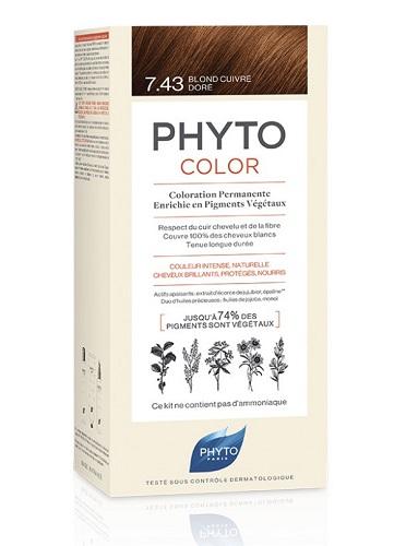 PHYTO PHYTOCOLOR 7,43 COLORAZIONE CAPELLI BIONDO RAMATO DORATO LATTE + CREMA + MASCHERA