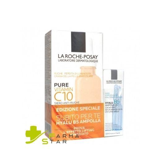 Pure Vitamin C10 Siero Viso Antirughe Antiossidante 30 ml + IN OMAGGIO Ampolla Hyalu B5 1.8 ml La Roche Posay - Farmastar.it