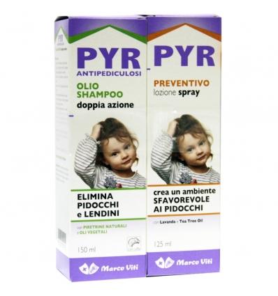 PYR ABB OLIO SHAMPOO ANTIPEDICULOSI  1 OLIO SHAMPOO DOPPIA AZIONE + 1 LOZIONE SPRAY + 1 PETTINE LENDINI - Farmapage.it