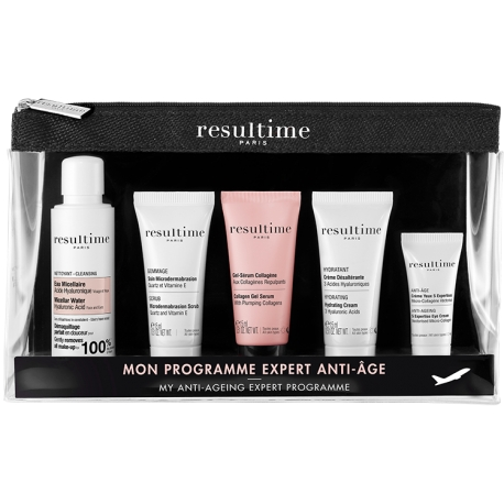 RESULTIME TROUSSE DECOUVERTE CON EAU MICELLAIRE ACIDE HYALURONIQUE 50 ML + SOIN MICRODERMABRASION 15 ML + GEL SERUM COLLAGENE 15 ML + CREME DESALTERANTE 15 ML + CREME YEUX 3 ML - Farmastar.it