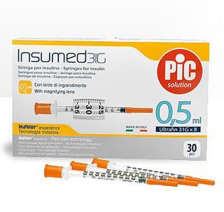 Pic Insumed Siringa Per Insulina 0,5 ml 100 UI Ago 31G Lunghezza 8 mm 30 Siringhe - latuafarmaciaonline.it