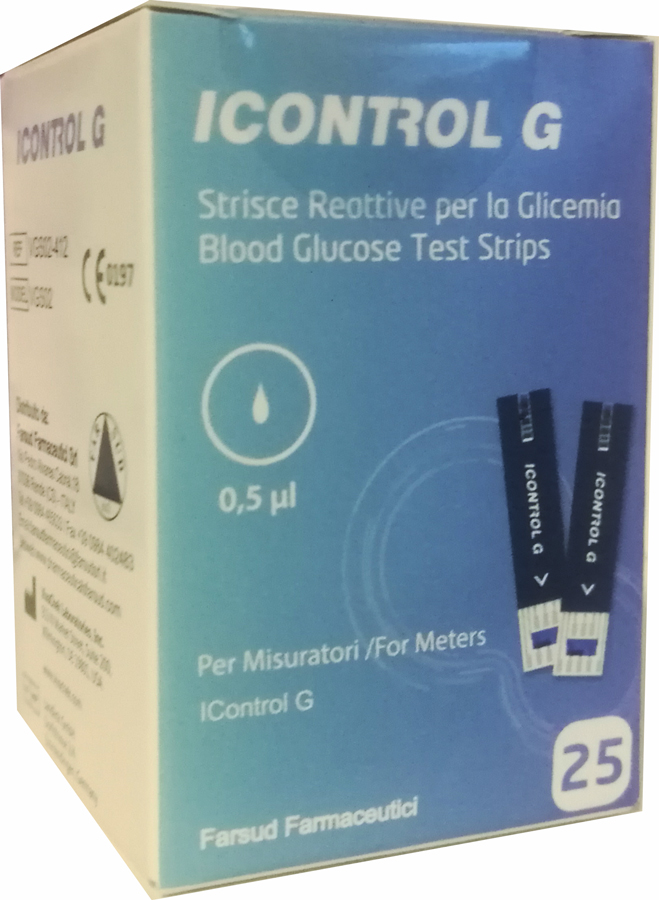 STRISCE MISURAZIONE GLICEMIA ICONTROL G 25 PEZZI - Farmacia Centrale Dr. Monteleone Adriano