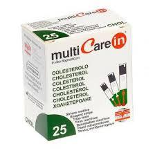 TEST COLESTEROLEMIA MULTICARE IN COLESTEROLO IN STRISCE CON ASPIRAZIONE CAPILLARE 25 PEZZI - Speedyfarma.it