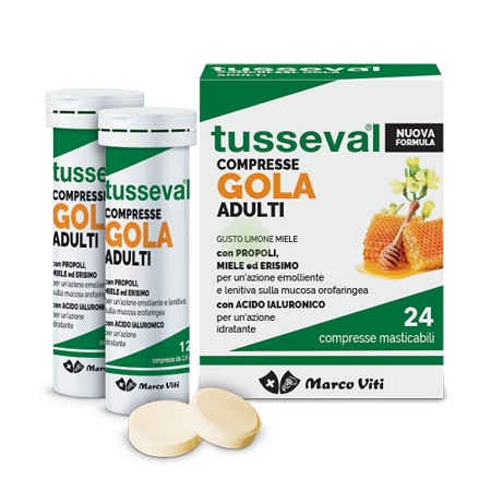 TUSSEVAL GOLA ADULTI 24 COMPRESSE - Farmafamily.it