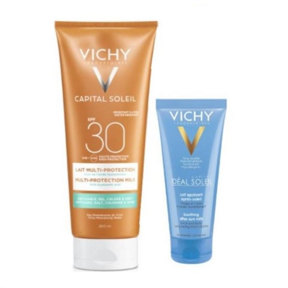 Vichy Capital Soleil Beach Protect Latte SPF30 + Doposole Vichy 100ml - Arcafarma.it
