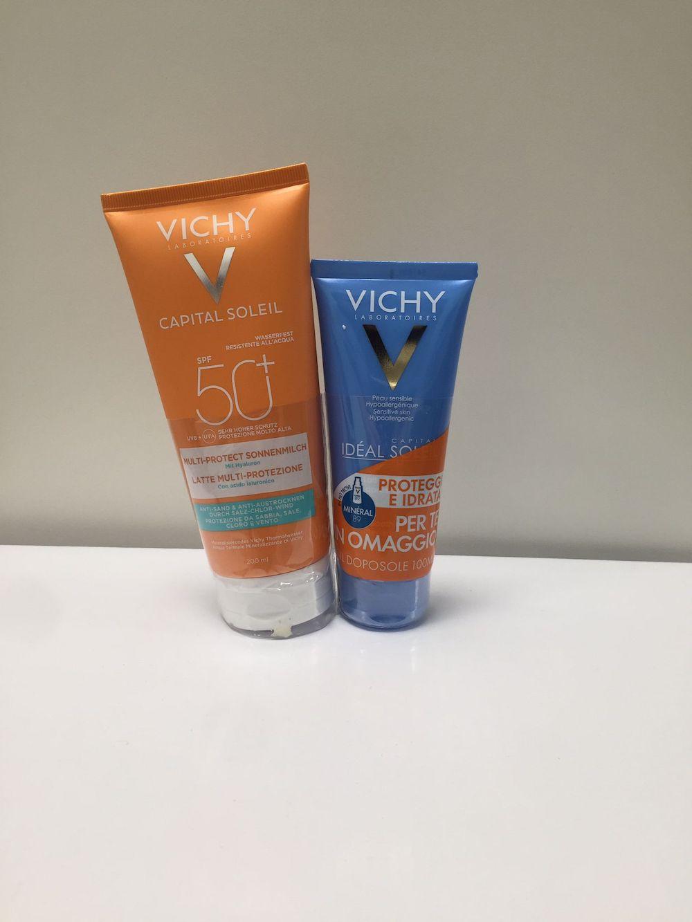 Vichy Capital Soleil Sleever Beach Protetct Latte SPF50 + Doposole 100ml  - Arcafarma.it