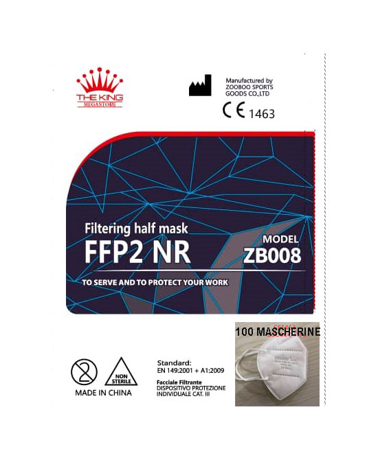 ZOOBOO  100 Mascherine Bianche FFP2 certificata CE 1463 - latuafarmaciaonline.it