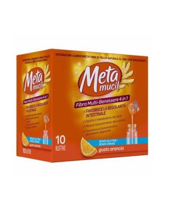 Metamucil Fibra Multi- Benessere Integratore Alimentare Arancia 10 Bustine