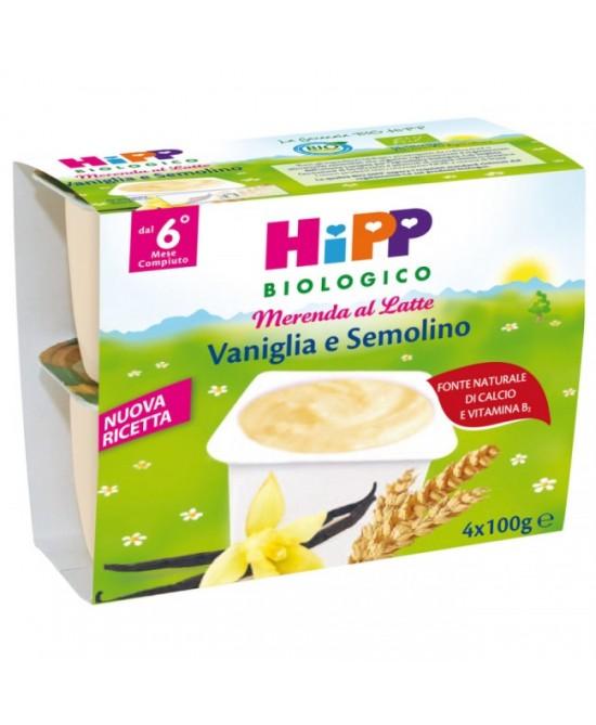 Hipp Biologico Merenda Latte Vaniglia E Semolino 4x100g - Farmajoy