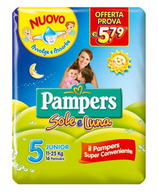 PANNOLINO PER BAMBINO PAMPERS SOLE & LUNA FLASH JUNIOR 16 PEZZI - Zfarmacia