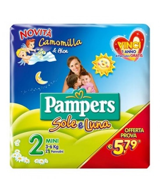 Pampers Sole&Luna Taglia Mini Misura 2 (3-6kg) 21 Pannolini -