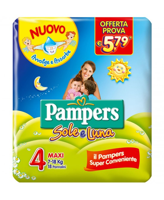 Pampers Sole&Luna Maxi Misura 4 (7-18kg) 18 Pannolini - Farmafamily.it