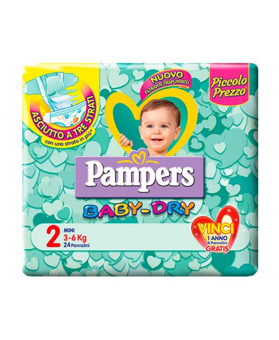 Pampers Baby Dry Downcount No Flash Mini Misura 2 (3-6kg) 24 Pannolini - Farmafamily.it