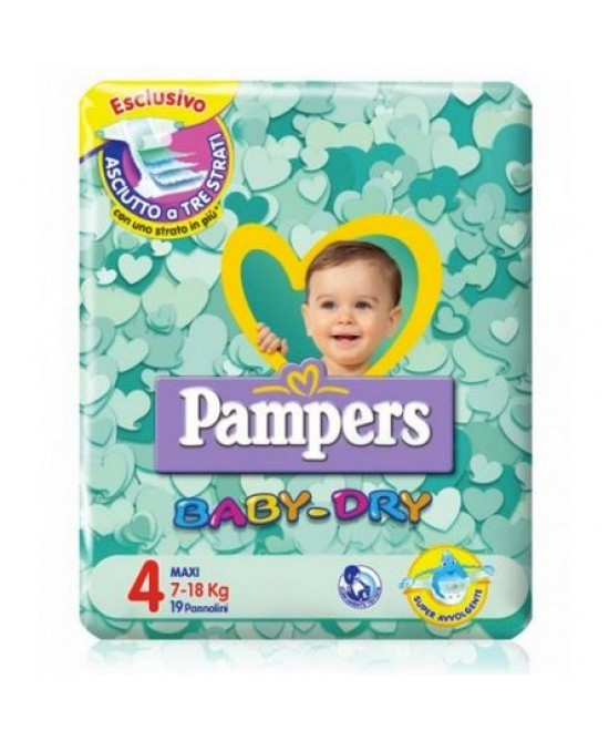 Pampers Baby Dry Downcount No Flash Maxi - Taglia 4 (7-18kg) 19 Pannolini - Farmapage.it