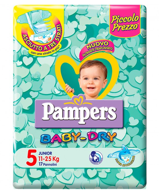 Pampers Baby Dry Downcount No Flash Junior Misura 5 (11-25kg) 17 Pannolini - Farmabellezza.it