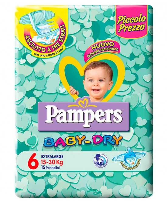 Pampers Baby Dry Downcount No Flash Extralarge Misura 6 (10-30kg) 15 Pannolini - Farmaci.me