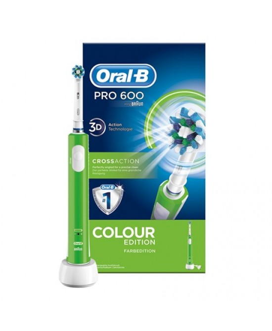 Oral-B Pro 600 Crossaction Colour Edition Spazzolino Elettrico Ricaricabile Verde - La farmacia digitale