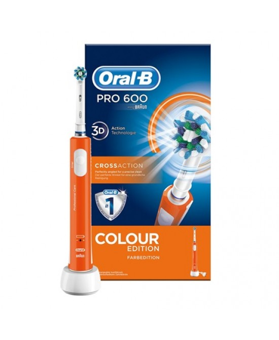 Oral-B Pro 600 Cross Action Colour Edition Spazzolino Elettrico Ricaricabile Arancione - latuafarmaciaonline.it