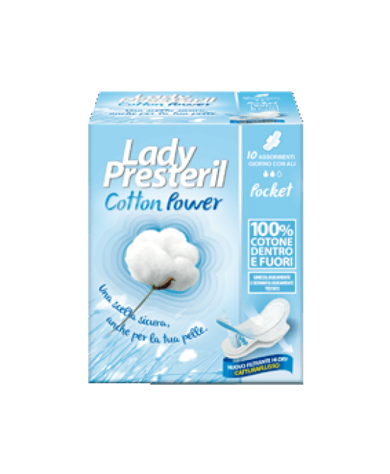 Lady Presteril Cotton Power Giorno Con Ali Pocket 10 Pezzi - Farmafamily.it