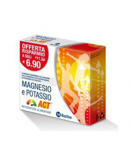 Magnesio Potassio ACT Integratore Alimentare 14 Bustine - Farmaci.me