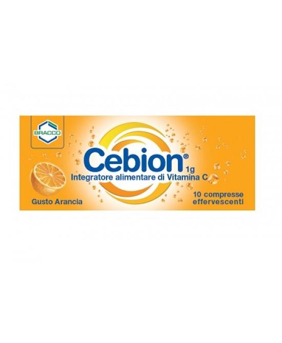 Bracco Cebion 1g Integratore Alimentare Di Vitamina C Arancia Senza Zucchero 10 Compresse Effervescenti - farmaventura.it