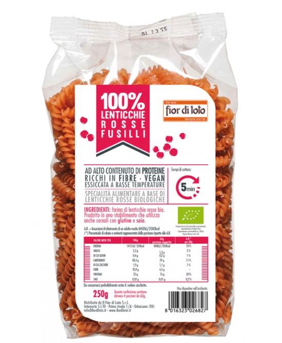 Fior di Loto Fusilli di Lenticchie Rosse Senza Glutine Bio 250 g