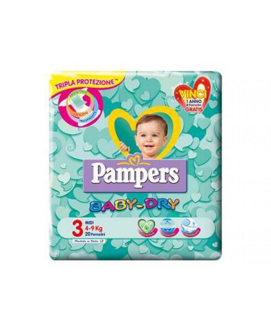 Pampers Baby Dry Downcount Midi Pannolini Misura 3 (4-9kg) 20 Pezzi - Farmia.it
