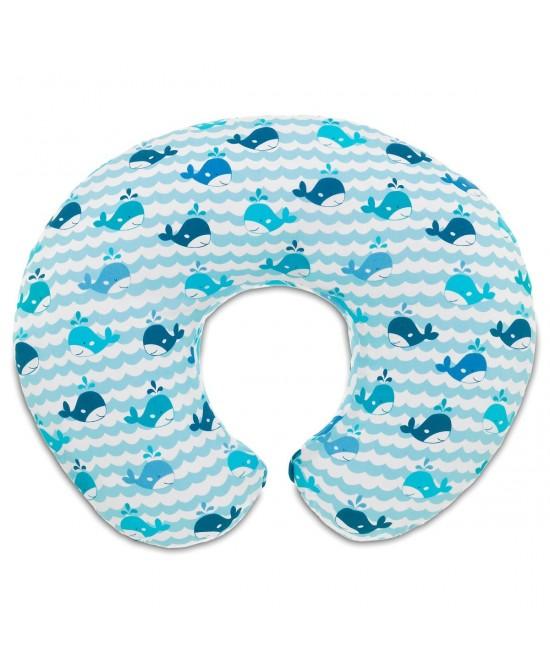Chicco Cuscino Allattamento Boppy Foderato In Cotone Colore Blue Whales - FARMAPRIME