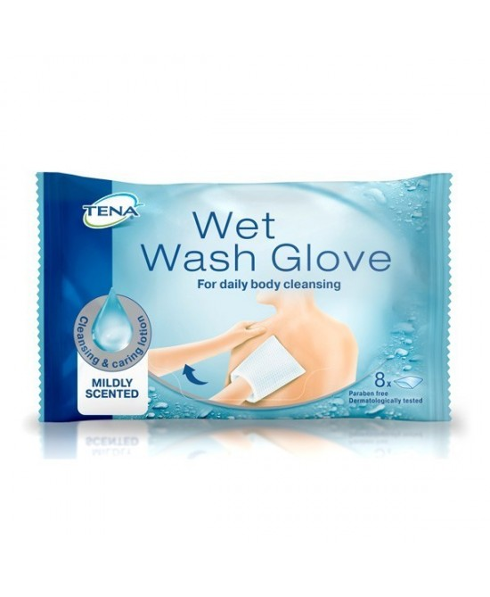 Tena Wet Wash Glove Guanti Per La Pulizia Quotidiana Del Corpo 8 Pezzi - Farmapc.it