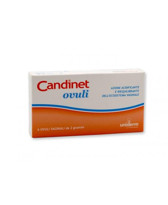 Uniderm Candinet Ovuli Vaginali Azione Acidificante E Riequilibrante Dell'Ecosistema Vaginale 6 Ovuli - Farmaciaempatica.it