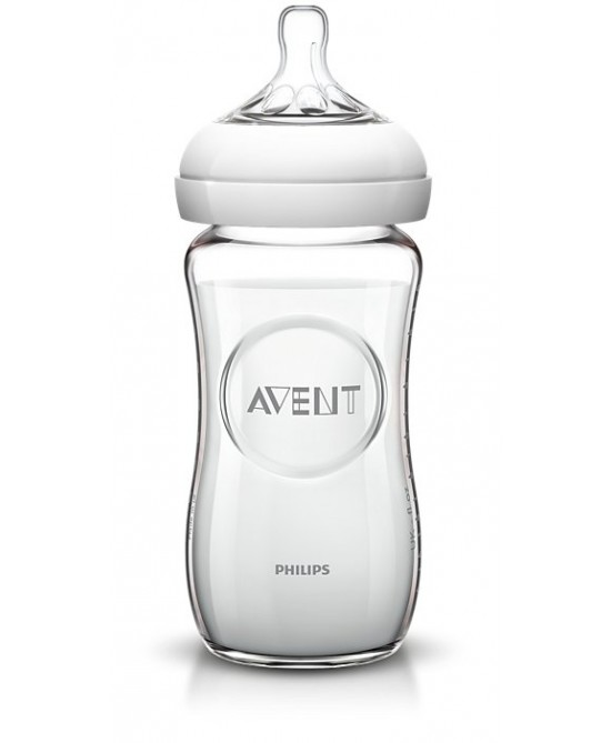 Philips AVENT Biberon Naturale In Vetro 240ml  Tettarella A Flusso Lento +1M - Farmaciaempatica.it
